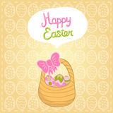 Happy Easter background with cartoon cute basket Stock Image