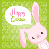 Happy Easter background with cartoon cute bunny Royalty Free Stock Images