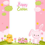 Happy Easter background with cartoon cute bunny Stock Photos