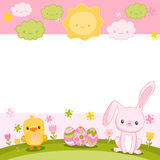 Happy Easter background with cartoon cute bunny Stock Photo