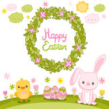 Happy Easter background with cartoon cute bunny Royalty Free Stock Image