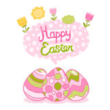 Happy Easter background with cartoon cute eggs Royalty Free Stock Photos