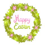 Happy Easter background with cartoon cute wreath Stock Photos
