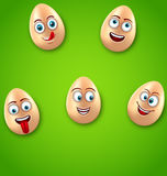 Happy Easter Background with Cheerful Cartoon Eggs Stock Photos
