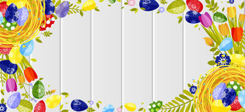 Happy Easter background colored eggs, spring decoration, leave, tulip flower design element in flat style. Stock vector illustration Happy Easter background Stock Photography