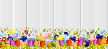 Happy Easter background colored eggs, spring decoration, leave, tulip flower design element in flat style. Stock vector illustration Happy Easter background Royalty Free Stock Photo