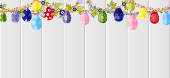 Happy Easter background colored eggs, spring decoration, leave, tulip flower design element in flat style. Stock vector illustration Happy Easter background Royalty Free Stock Image