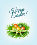 Happy Easter background. Colorful easter eggs on green grass. Ve Stock Image