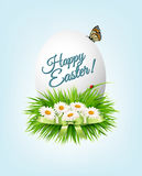 Happy Easter background. Colorful easter eggs on green grass. Stock Photography