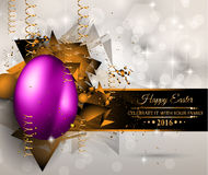 Happy Easter Background with a Colorful Egg with Shadow stock illustration