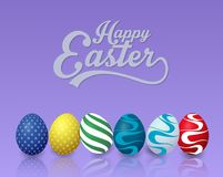 Happy easter background with colorful easter eggs on blue background. Illustration of Happy easter background with colorful easter eggs on blue background Stock Photography