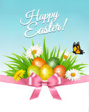 Happy Easter background. Colorful eggs and daisy Royalty Free Stock Image
