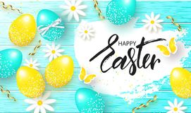 Happy Easter background with colorful eggs,flowers and serpentine on wooden texture. Egg hunt. Vector illustration. Design layout. For invitation, card, menu Royalty Free Stock Photography