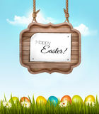 Happy Easter background with colorful eggs Stock Photos