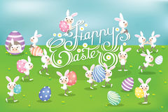 Happy Easter background with cute kids in rabbit costume Royalty Free Stock Photography