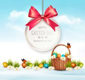 Happy Easter background. Eggs in a basket. Royalty Free Stock Image