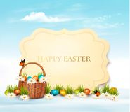 Happy Easter background. Eggs in a basket. Stock Photography