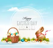 Happy Easter background. Eggs in a basket. Stock Image