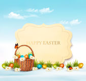 Happy Easter background. Eggs in a basket. Stock Photos