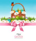 Happy Easter background. Eggs in a basket. Royalty Free Stock Images