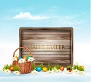 Happy Easter background. Eggs in a basket Stock Image