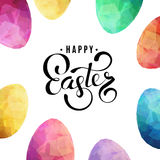 Happy Easter Background with eggs. Color eggs frame on white background. Happy Easter text greeting card design template. Modern square illustration stock illustration