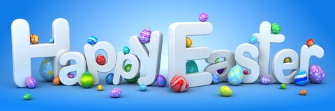 Happy Easter background with eggs. 3d render Royalty Free Stock Photography