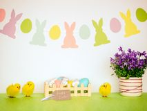 Happy Easter background. With eggs, flowers and flags garland Royalty Free Stock Photography