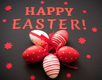 Happy Easter background with eggs and paper text.  Royalty Free Stock Images