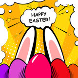 Happy Easter background with eggs and rabbit ears. Comics style. Royalty Free Stock Photo