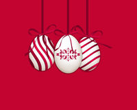 Happy Easter background with eggs. Happy Easter with eggs on red background Royalty Free Stock Images