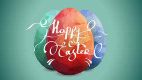 Happy Easter Background with eggs. Three Easter eggs on aquamarine background. Vector eggs easter design template. Modern Vector three easter eggs Premium Stock Illustration