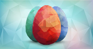 Happy Easter Background with eggs. Three Easter eggs on aquamarine background. Vector easter eggs polygonal design template. Modern Vector Premium illustration Stock Images