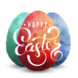 Happy Easter Background with eggs. Three color eggs on white background. Happy Easter text greeting card design template. Modern square illustration royalty free illustration