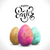 Happy Easter Background with eggs. Three color eggs on white background. Happy Easter text greeting card design template. Modern square illustration stock illustration
