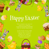 Happy Easter Background. Flat Icons Frame. Spring Holiday Concept with place for text. easter greeting card Royalty Free Stock Images