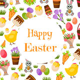 Happy Easter Background. Flat Icons. Spring Holiday Concept Royalty Free Stock Photos