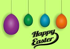 Colored Easter eggs on a green background. Happy Easter background with four colored Easter eggs, vector illustration stock illustration