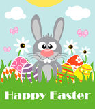 Happy Easter background with funny frabbit Royalty Free Stock Photo