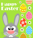 Happy Easter background with funny frabbit, green Stock Photography