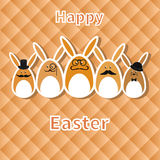 Happy Easter background with funny hipster bunnies. Royalty Free Stock Photography
