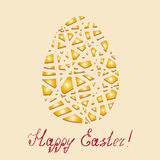 Happy Easter  background.  Golden Easter egg mosaic on  light background. Royalty Free Stock Image