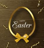 Happy Easter background with Golden frame and bow on wooden texture. Design layout for invitation, card, banner, poster. Voucher. Vector illustration Royalty Free Stock Photos