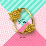 Happy Easter background with Golden frame and flowers. Design layout for invitation, card, banner, poster, voucher. Vector illustration Royalty Free Stock Photo