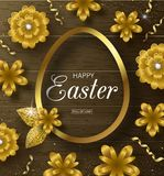 Happy Easter background with Golden frame,serpentine and flowers on wooden texture. Design layout for invitation, card. Banner, poster, voucher. Vector Royalty Free Stock Photography