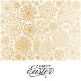 Happy Easter background. Good design template for banner, greeting card, flyer. Ornamental white bunny, eggs and flowers. Vector illustration Royalty Free Stock Photos