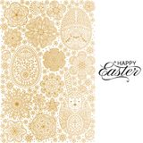 Happy Easter background. Good design template for banner, greeting card, flyer. Ornamental white bunny, eggs and flowers. Vector illustration Royalty Free Stock Photography
