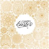 Happy Easter background. Good design template for banner, greeting card, flyer. Ornamental white bunny, eggs and flowers. Vector illustration Royalty Free Stock Image