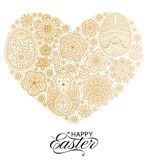 Happy Easter background. Good design template for banner, greeting card, flyer. Ornamental white bunny, eggs and flowers. Vector illustration Stock Photography