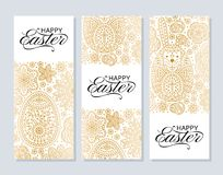 Happy Easter background. Good design template for banner, greeting card, flyer. Ornamental white bunny, eggs and flowers. Vector illustration Stock Images